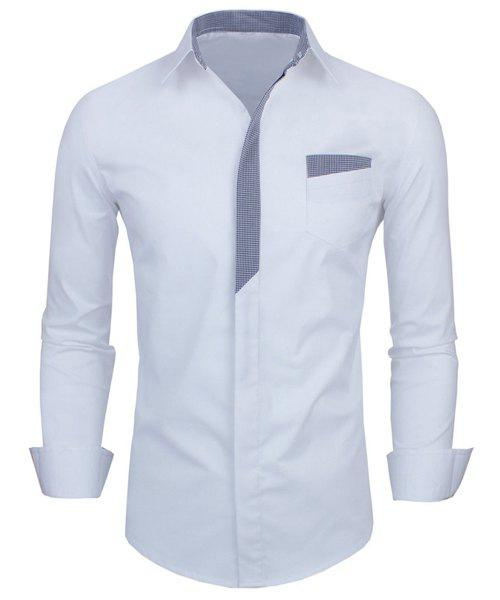 Personality Color Block Button Fly Slimming Turn-down Collar Long Sleeves Men's Shirt - WHITE M