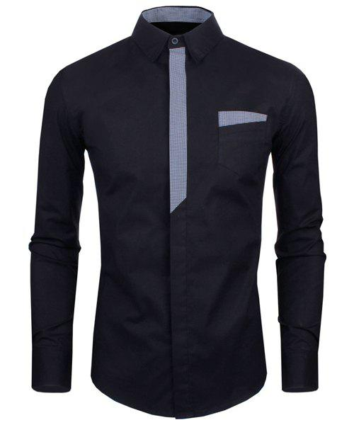 Personality Color Block Button Fly Slimming Turn-down Collar Long Sleeves Men's Shirt - BLACK L