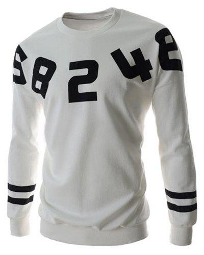 Casual Slimming Round Neck Number Print Solid Color Long Sleeves Men's Sweatshirt - WHITE XL