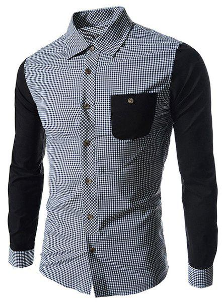 Concise Slimming Checked Splicing Turn-down Collar Color Block Long Sleeves Men's Shirt - BLACK XL