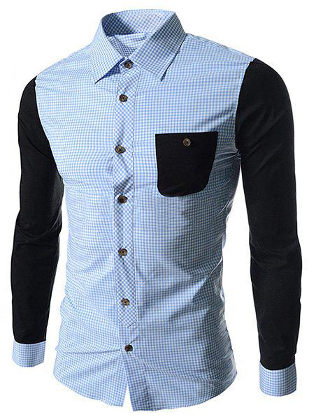 Concise Slimming Checked Splicing Turn-down Collar Color Block Long Sleeves Men's Shirt - BLUE M