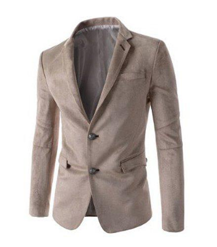 Trendy Slimming Personality Pocket Embellished Houndstooth Lapel Long Sleeves Men's Blazer - BEIGE 2XL