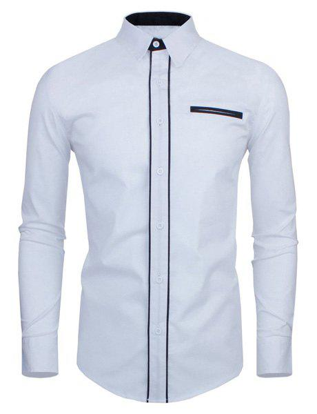 Slimming Color Block Button Fly Fake Pocket Turn-down Collar Long Sleeves Men's Shirt - WHITE L