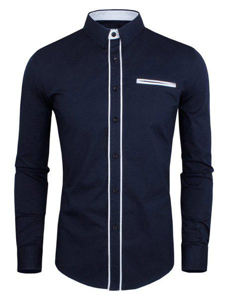 Slimming Color Block Button Fly Fake Pocket Turn-down Collar Long Sleeves Men's Shirt - DEEP BLUE XL