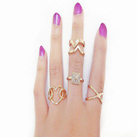 4PCS Heart Design Rhinestone Openwork Rings - GOLDEN ONE-SIZE