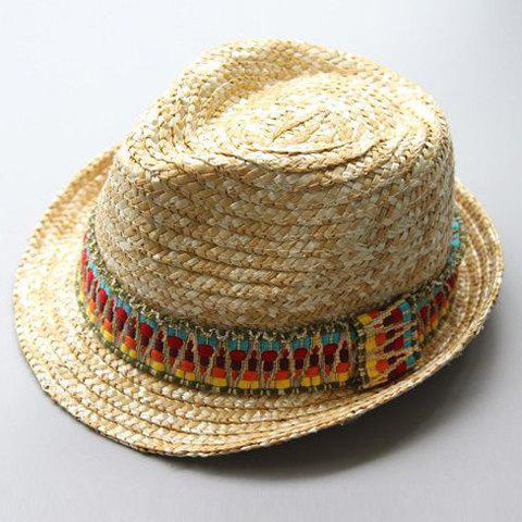 Chapeau de paille Ethnic Chic Design Pattern Color Block femmes - Comme Photo