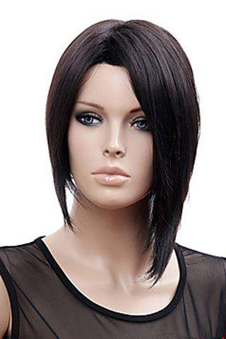 No Bang Stylish Offbeat Black Short Straight Charming Synthetic Women's Capless Wig stylish synthetic medium straight bob flax to red ombre offbeat neat bang women s capless wig
