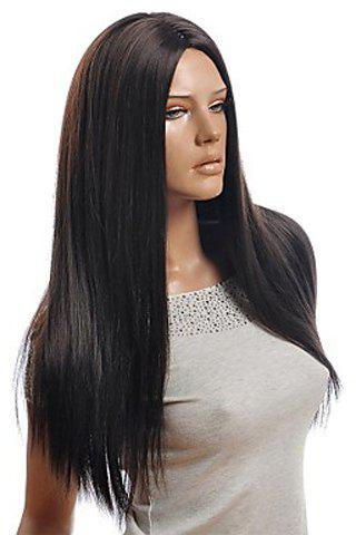 Centre Parting Stylish Natural Black Long Straight Charming Synthetic Women's Capless Wig centre parting long straight synthetic capless wig