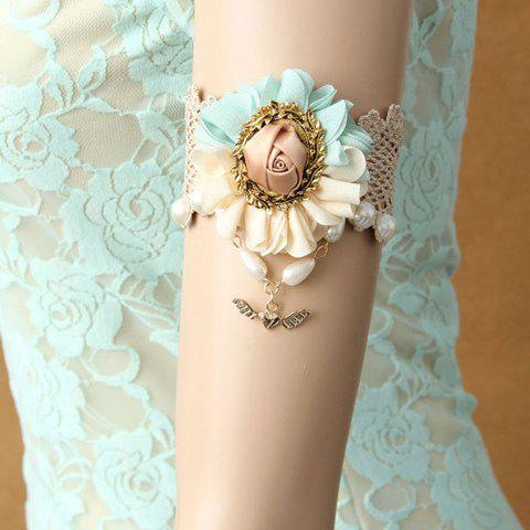 Sweet Flower Faux Pearl Design Armlet - WHITE