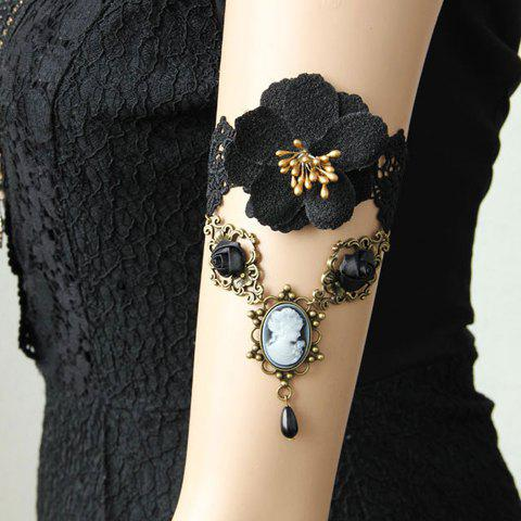 Retro Flower Beauty Pattern Bead Pendant Design Armlet - BLACK