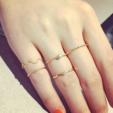 5PCS Chic Rhinestone Round Rings For Women - GOLDEN ONE-SIZE