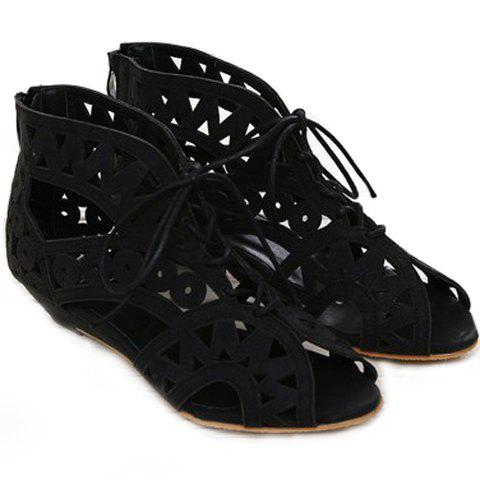 Sweet Hollow Out and Lace-Up Design Sandals For Women - BLACK 39