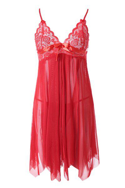 Spaghetti Strap Lace Splicing Solid Color Women's Baby Dolls - CLARET ONE SIZE