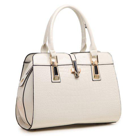 Stunning Patent Leather and Crocodile Print Design Tote Bag For Women - WHITE
