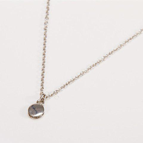 Simple Rhinestone Embellished Round Shape Pendant Women's Necklace - SILVER