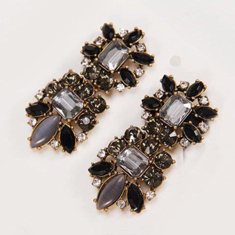 Pair of Chic Retro Style Faux Gem Decorated Square Shape Women's Earrings - BLACK