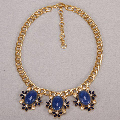 Luxury Faux Gem Decorated Egg and Floral Shape Women's Necklace - BLUE