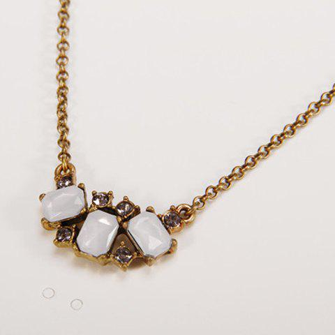 Stylish Faux Gem Decorated Square Shape Necklace For Women