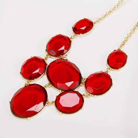 Attractive Faux Gem Decorated Geometric Necklace For Women