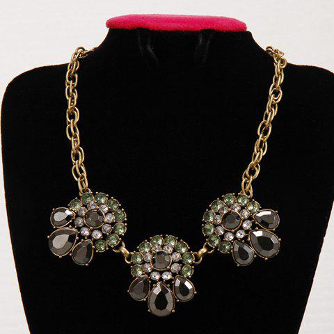 Elegant Faux Gem Decorated Floral Women's Necklace - AS THE PICTURE