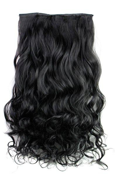 Trendy Heat Resistant Synthetic Clip-In Jet Black Long Curly Women's Hair Extension