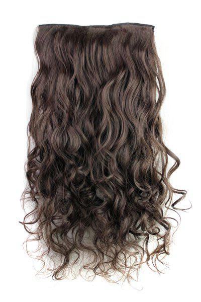 Trendy Heat Resistant Synthetic Clip-In Deep Brown Long Curly Women's Hair Extension - DEEP BROWN