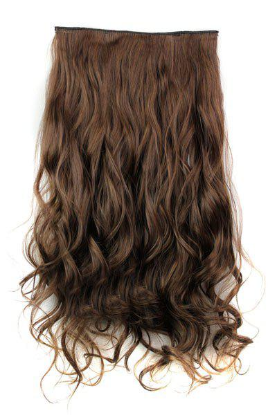 Trendy Heat Resistant Synthetic Clip-In Light Brown Long Curly Women's Hair Extension - LIGHT BROWN