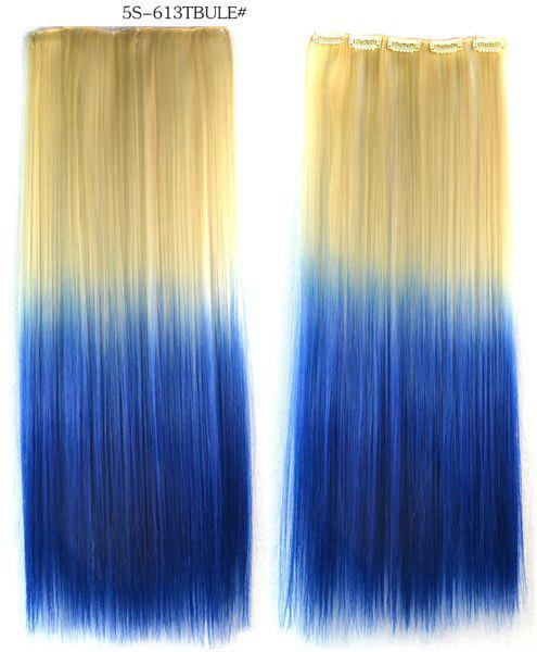 Fashion Soft Long Straight Rice White Gradient Sapphire Clip In Women's Hair Extension -