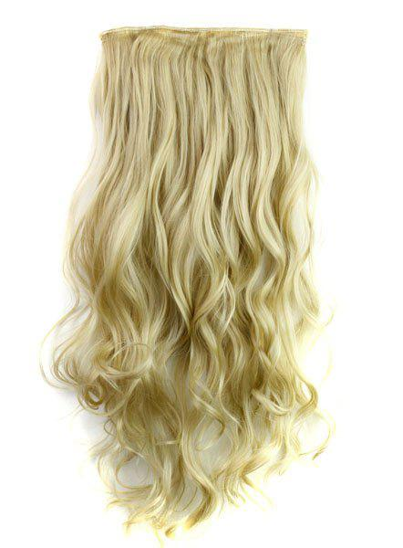 Trendy Heat Resistant Synthetic Clip-In Light Blonde Long Curly Women's Hair Extension - LIGHT GOLD