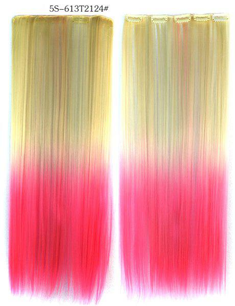 Soft Long Straight Rice White Gradient Pink Heat Resistant Chic Women's Clip-In Hair Extension - COLORMIX