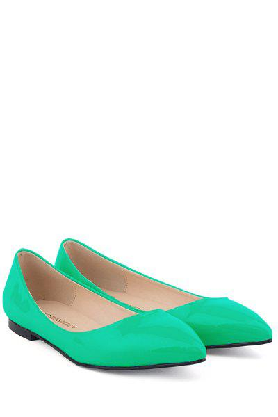 Simple Style Patent Leather and Candy Color Design Women's Flat Shoes - BLUE 37