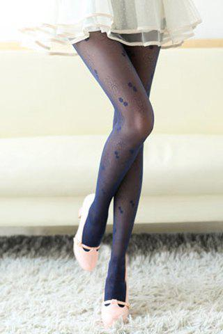 Chic Flower Jacquard Embellished Women's Ultrathin Pantyhose - COLOR ASSORTED