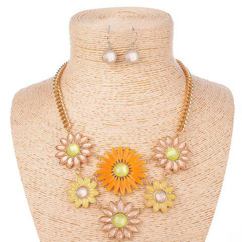 Fresh Style Faux Gem Decorated Floral Necklace and A Pair of Women's Earrings - RANDOM COLOR