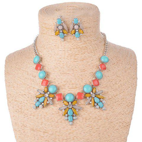 Fantastic Rhinestone Embellished Geometric Shape Women's Necklace and A pair of Earrings - BLUE