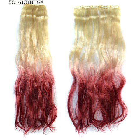 Long Loose Wavy Rice White Gradient Wine Red Vogue Women's Clip-On Hair Extension - OMBRE