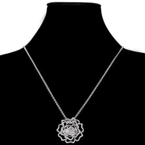Stylish Rhinestone Decorated Hollow Out Floral Women's Necklace - SILVER