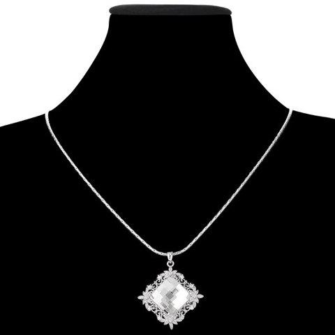 Luxury Faux Crystal Decorated Rhombus Shape Women's Necklace -  SILVER