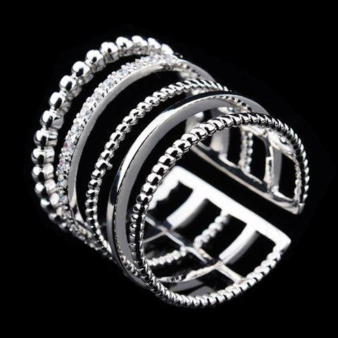 Exquisite Rhinestone Decorated Multi-Layered Women's Cuff Ring - SILVER ONE-SIZE