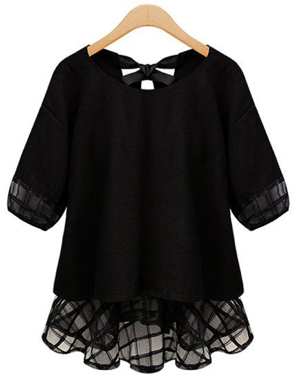Stylish Scoop Collar Half Sleeve See-Through Spliced Women's Blouse - BLACK 5XL
