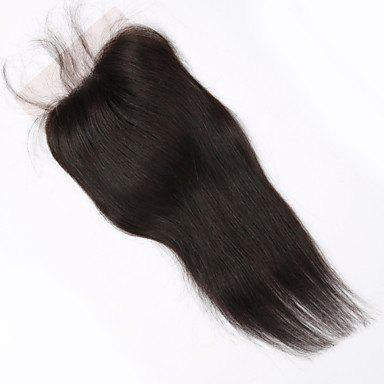 Silky 10 Inch Brazilian Human Hair Lace Closure Free Part Natural Color Women's Straight Hair Top Closure русалочка