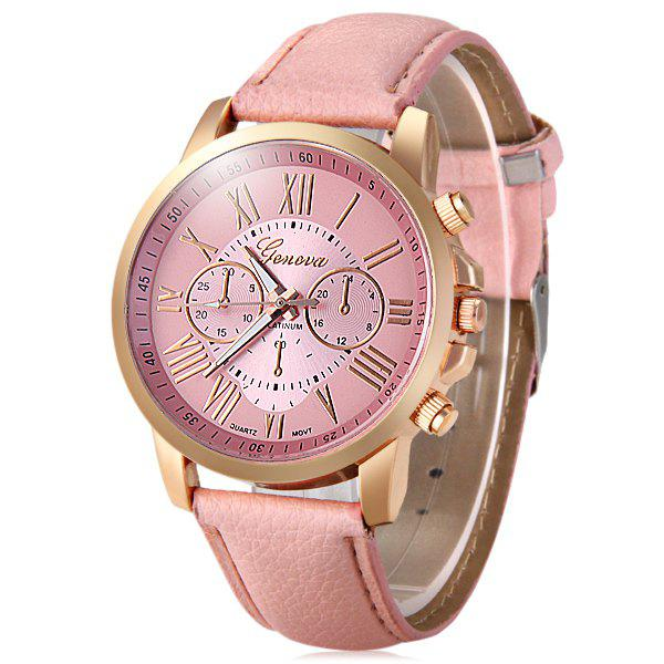 Geneva Decorative Sub-dials Bright Colors Female Quartz Watch - PINK