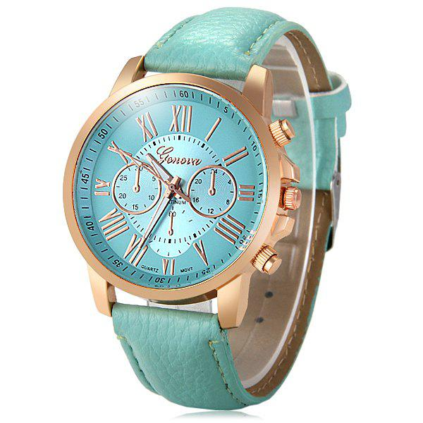 Geneva Decorative Sub-dials Bright Colors Female Quartz Watch - GREEN