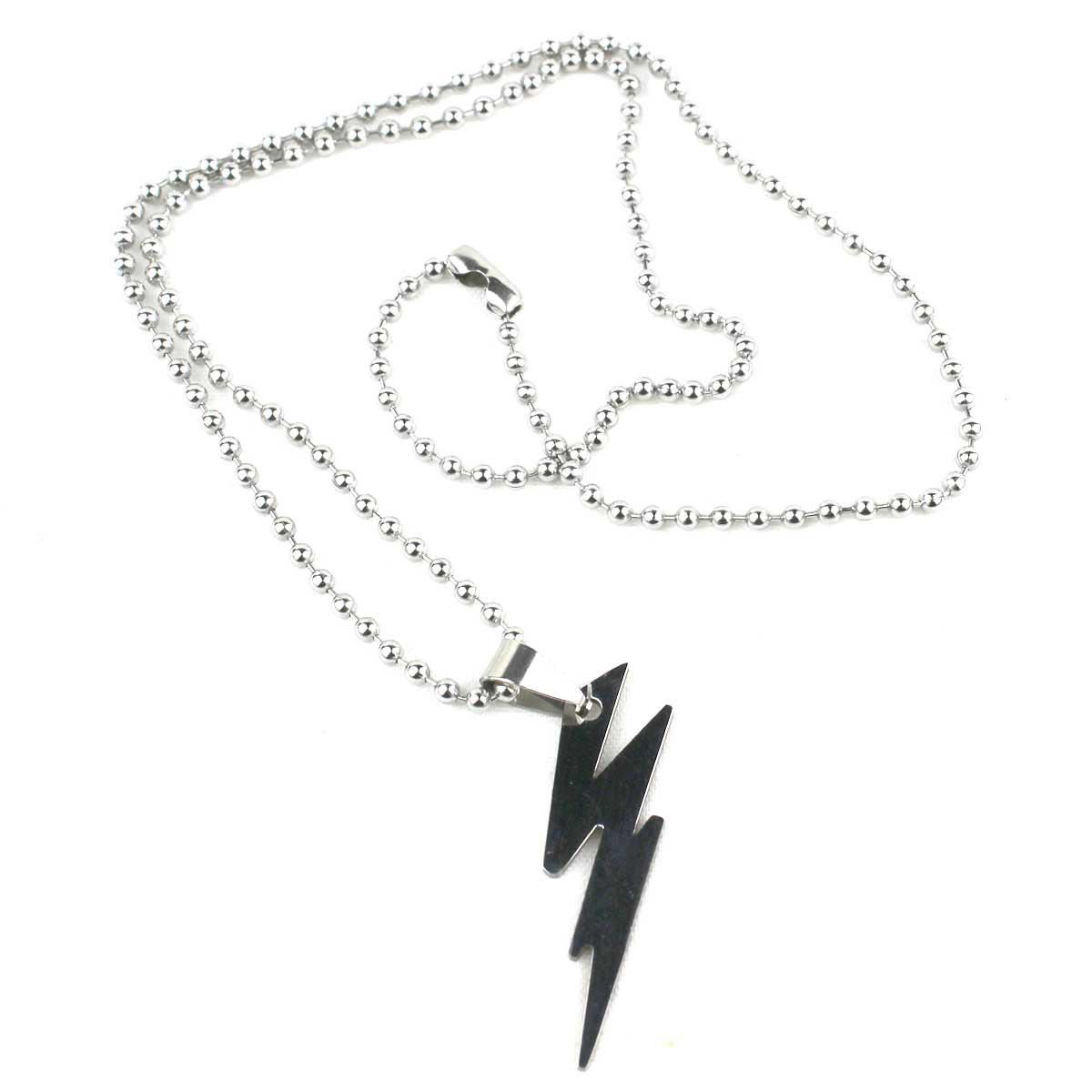 Stainless Steel Thunder Pattern Style Pendant Titanium Steel Necklace Unisex Jewelry retro stainless steel wolf tooth pendant necklace men jewelry