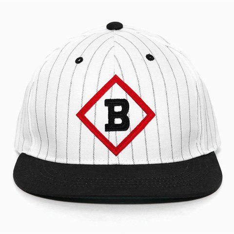 Chic Letter B Shape Embellished Vertical Stripe Pattern Baseball Cap For Women - WHITE