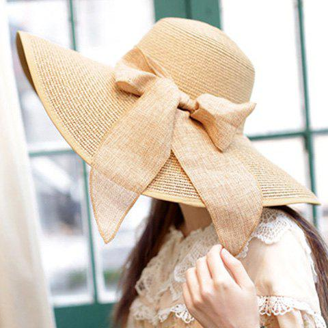 Chic Bowknot Lace-Up Embellished Wide Brim Straw Hat For Women
