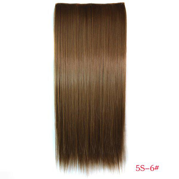 Trendy Long Straight Heat Resistant Synthetic Light Brown Women's Hair Extension -