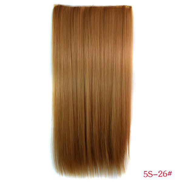 Trendy Long Straight Clip-In Heat Resistant Synthetic Gold Brown Women's Hair Extension -