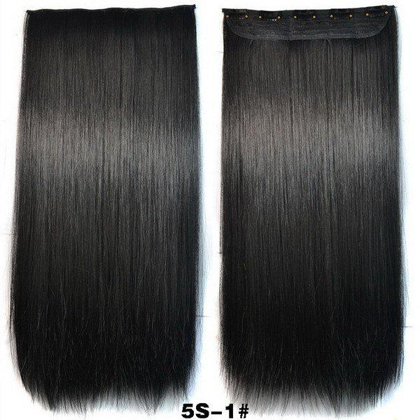 Trendy Long Straight Clip-In Heat Resistant Synthetic Jet Black Women's Hair Extension - BLACK
