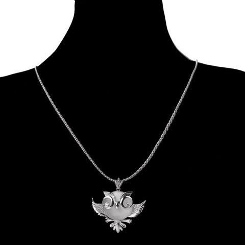 Chic Rhinestone Embellished Night Owl Shape Women's Sweater Chain - SILVER