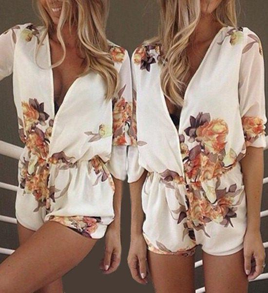 Stylish Women's Plunging Neck Long Sleeves Floral Print Romper - AS THE PICTURE M